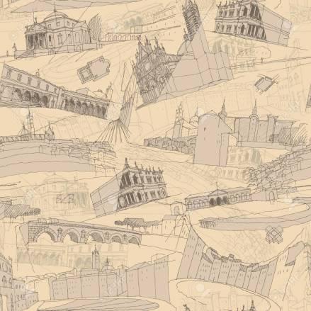 Historic Italian Architecture Collage seamless pattern