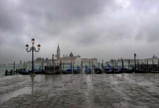 From Riva degli Schiavoni looking toward San Giorgio, with Gondolas, Venice.
