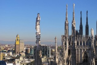 Duomo Rooftop, Milan, with a view toward the French Alps.